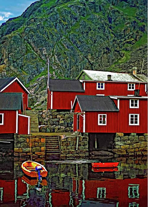 Lofoten Greeting Card featuring the photograph Lofoten Fishing Huts by Steve Harrington