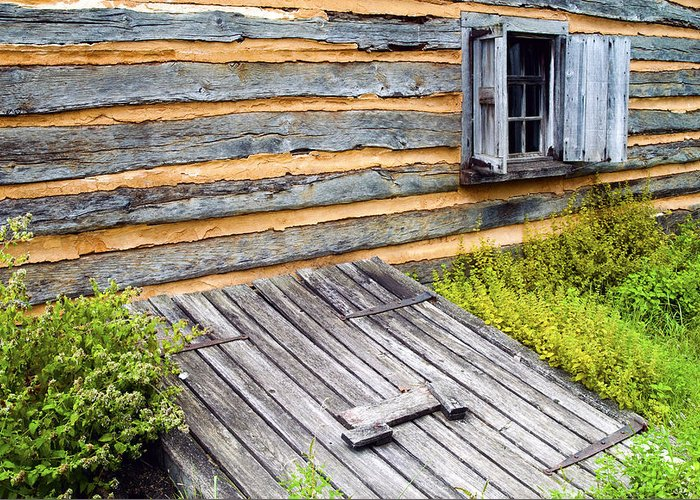 Log Cabin Greeting Card featuring the photograph Log Cabin Storm Cellar Door by Paul W Faust - Impressions of Light