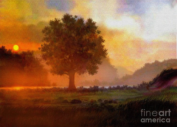 Landscape Greeting Card featuring the painting Lone Tree by Robert Foster
