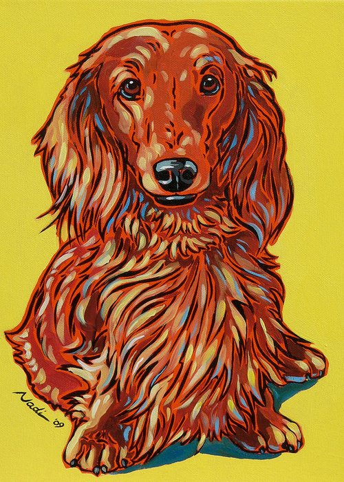 Dachshund Greeting Card featuring the painting Long Haired Dachshund by Nadi Spencer