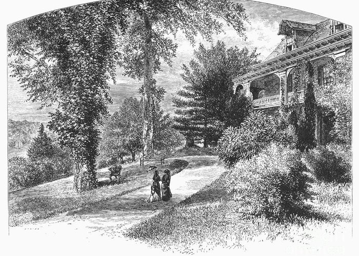 1876 Greeting Card featuring the photograph Long Island: Summer Home by Granger
