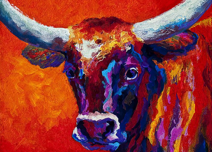 Longhorn Greeting Card featuring the painting Longhorn Steer by Marion Rose