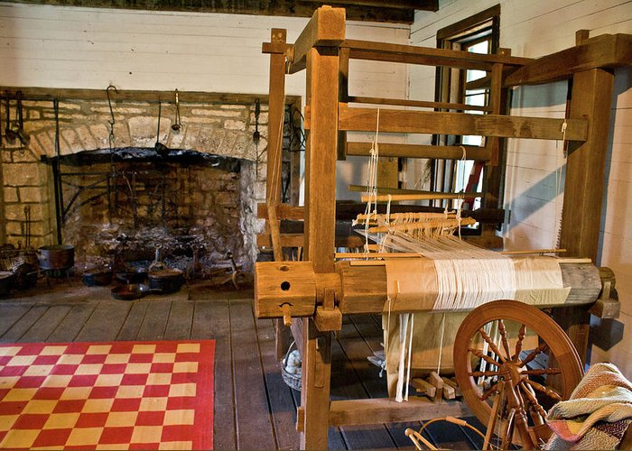 Loom Greeting Card featuring the photograph Loom And Fireplace In Settlers Cabin by Douglas Barnett