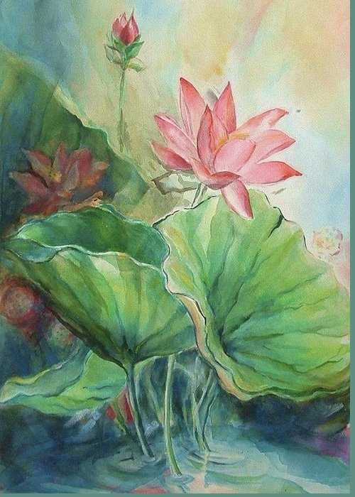 Lotus Greeting Card featuring the painting Lotus Of Hamakua by Wendy Wiese