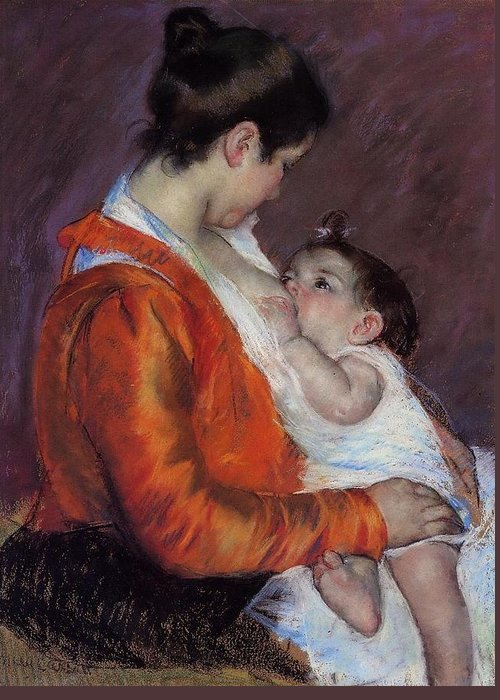 Marry Cassatt Greeting Card featuring the digital art Louise Nursing Her Child by Marry Cassatt