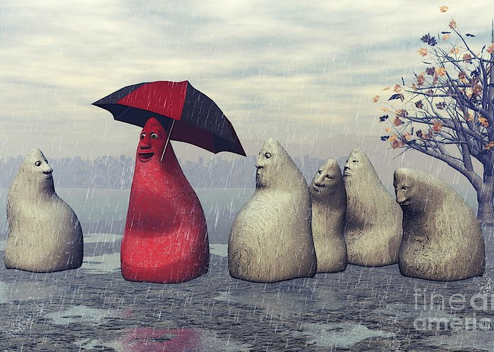 3d Greeting Card featuring the digital art Lousy Weather by Jutta Maria Pusl