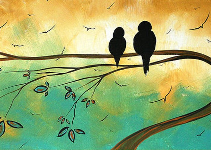 Art Greeting Card featuring the painting Love Birds By Madart by Megan Duncanson