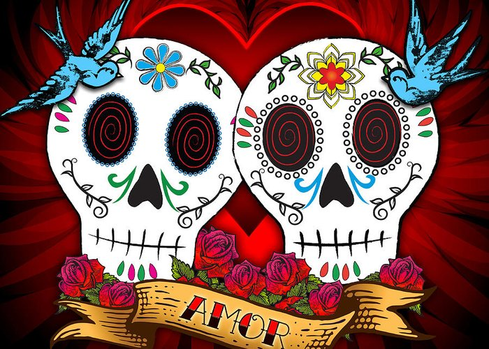 Skulls Greeting Card featuring the drawing Love Skulls by Tammy Wetzel