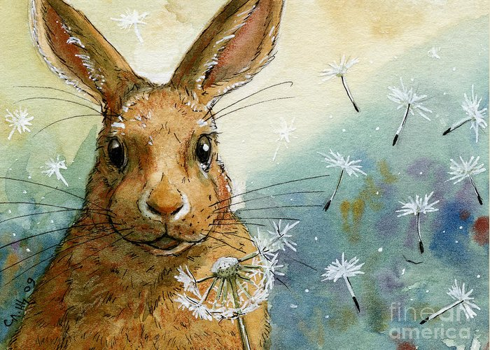 Rabbit Greeting Card featuring the painting Lovely Rabbits - With Dandelions by Svetlana Ledneva-Schukina