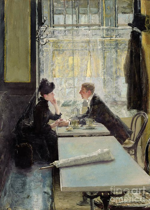 Lovers In A Cafe (panel) By Gotthardt Johann Kuehl (1850-1915) Greeting Card featuring the painting Lovers In A Cafe by Gotthardt Johann Kuehl