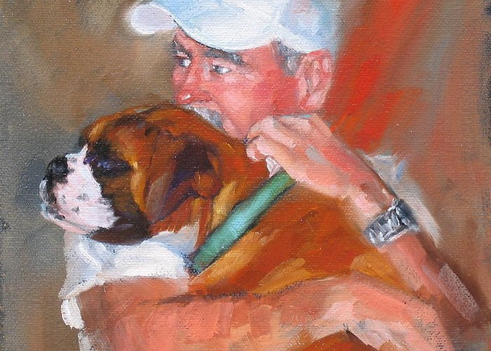 Oil Painting Greeting Card featuring the painting Loving Roxie by Laura Lee Zanghetti