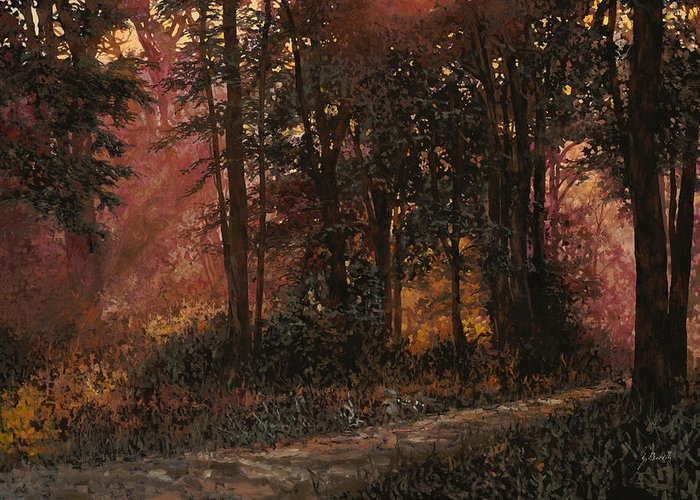Wood Greeting Card featuring the painting Luci Nel Bosco by Guido Borelli