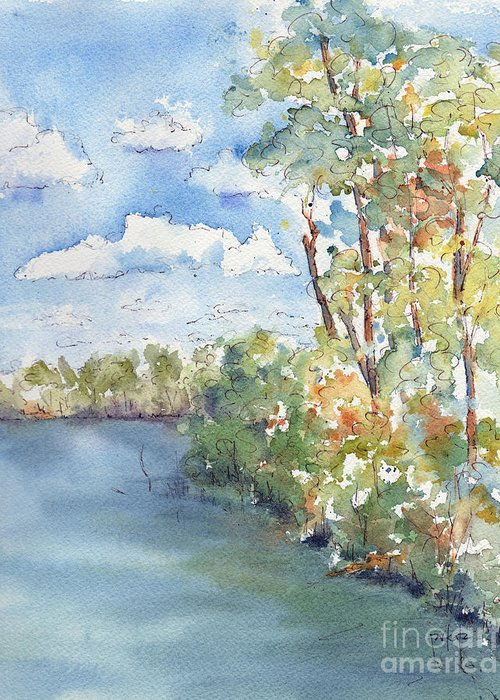 Impressionism Greeting Card featuring the painting Lucien Lake Shoreline by Pat Katz