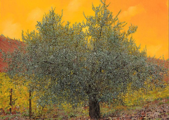 Olive Tree Greeting Card featuring the painting L'ulivo Tra Le Vigne by Guido Borelli