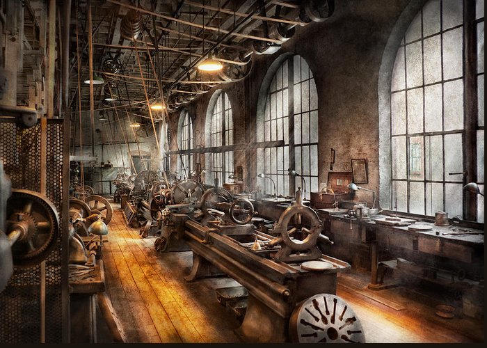 Hdr Greeting Card featuring the photograph Machinist - A Room Full Of Lathes by Mike Savad