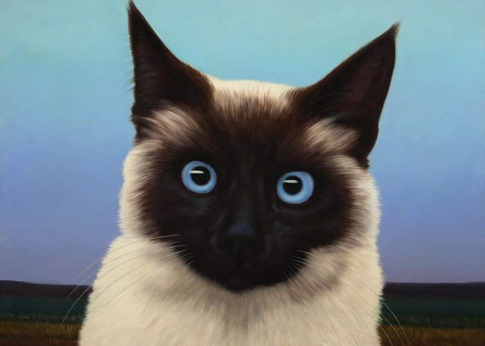 Cat Greeting Card featuring the painting Machka 2001 by James W Johnson