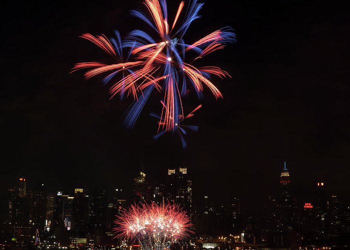 4th Of July Greeting Card featuring the photograph Macy's Fireworks II by David Hahn