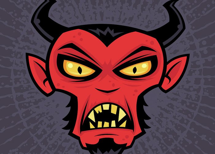 Demon Greeting Card featuring the drawing Mad Devil by John Schwegel