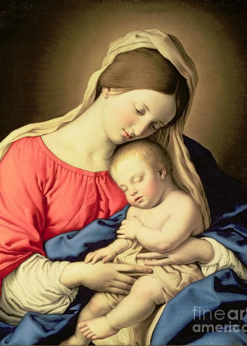 Madonna Greeting Card featuring the painting Madonna And Child by Il Sassoferrato