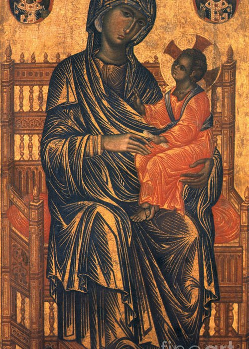 13th Century Greeting Card featuring the photograph Madonna Icon, 13th Century by Granger