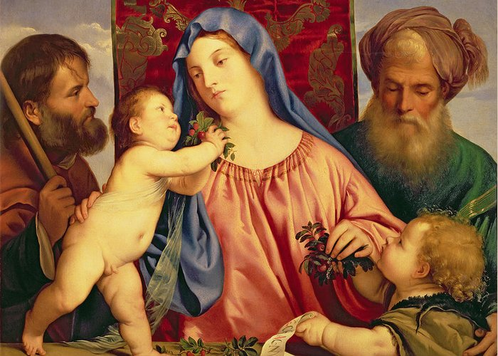 Madonna Greeting Card featuring the painting Madonna Of The Cherries With Joseph by Titian