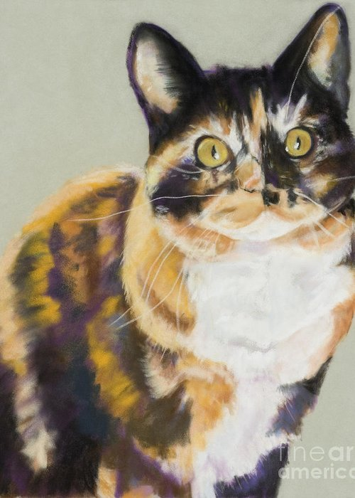 Calico Greeting Card featuring the painting Maggie Mae by Pat Saunders-White