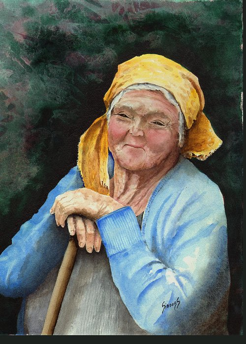 Portrait Greeting Card featuring the painting Maggie by Sam Sidders