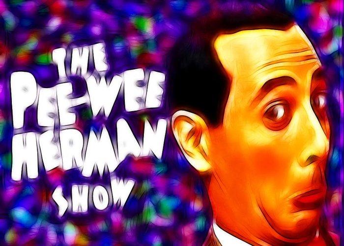 Pee Wee Greeting Card featuring the painting Magical Pee Wee Herman by Paul Van Scott