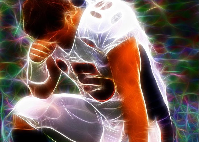 Tim Tebow Greeting Card featuring the painting Magical Tebowing by Paul Van Scott