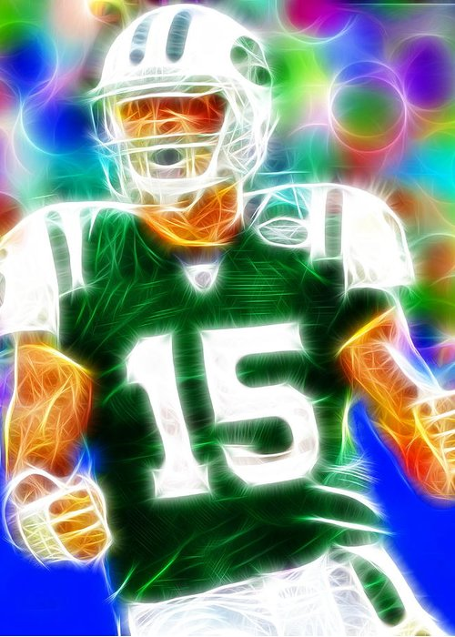 Ny Jets Greeting Card featuring the painting Magical Tim Tebow by Paul Van Scott