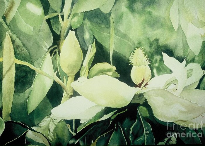 Magnolias Greeting Card featuring the painting Magnolium Opus by Elizabeth Carr