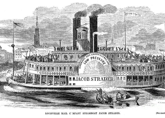 1854 Greeting Card featuring the photograph Mail Steamboat, 1854. /nthe Louisville Mail Company Steamboat Jacob Strader. Wood Engraving, 1854 by Granger