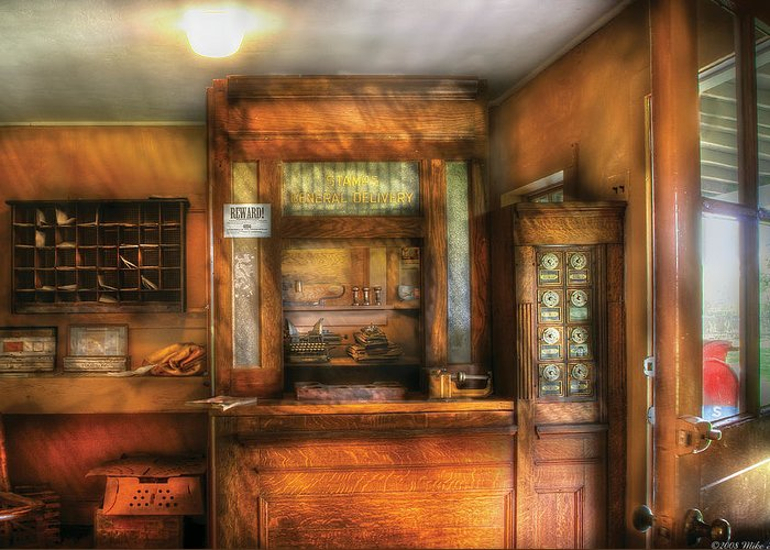 Savad Greeting Card featuring the photograph Mailman - The Post Office by Mike Savad