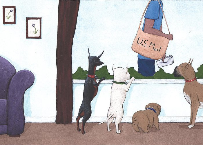 Dogs Greeting Card featuring the painting Mailman by Christy Beckwith