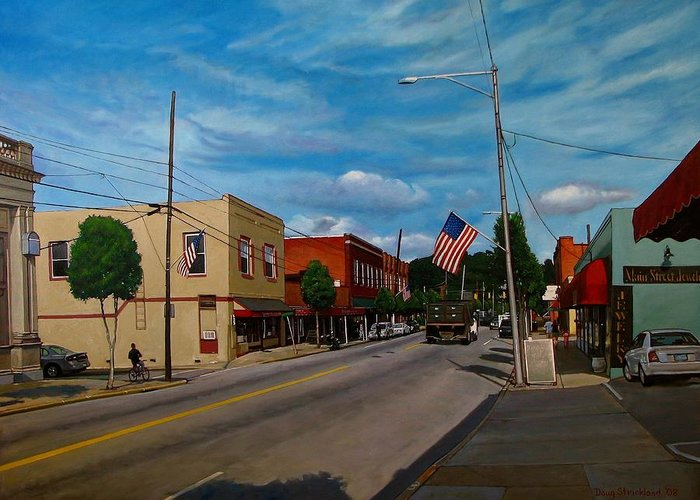 Doug Strickland Greeting Card featuring the painting Main Street Clayton Nc by Doug Strickland