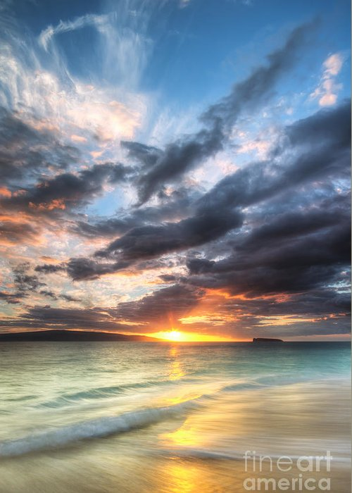 Makena Sunset Greeting Card featuring the photograph Makena Beach Maui Hawaii Sunset by Dustin K Ryan