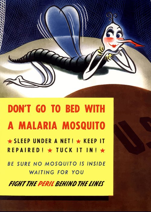 Mosquito Greeting Card featuring the painting Malaria Mosquito by War Is Hell Store