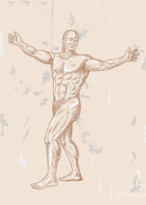 Human Greeting Card featuring the digital art Male Human Anatomy by Aloysius Patrimonio