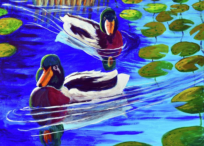 Mallards Greeting Card featuring the painting Mallards In The Pads by Bob Crawford