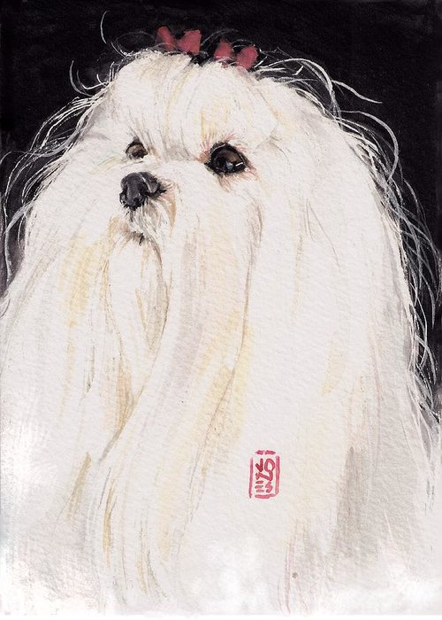 Maltese Greeting Card featuring the painting Maltese by Debra Jones