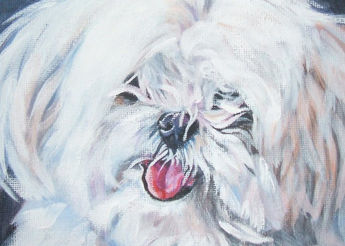 Maltese Greeting Card featuring the painting Maltese by Lee Ann Shepard