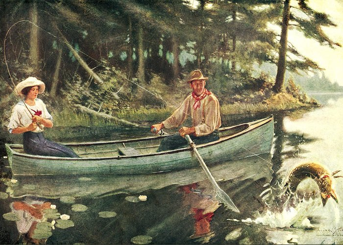 Frank Stick Greeting Card featuring the painting Man And Woman Fishing by JQ Licensing