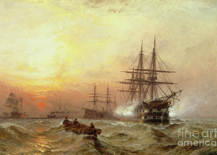 Man-o Greeting Card featuring the painting Man-o-war Firing A Salute At Sunset by Claude T Stanfield Moore