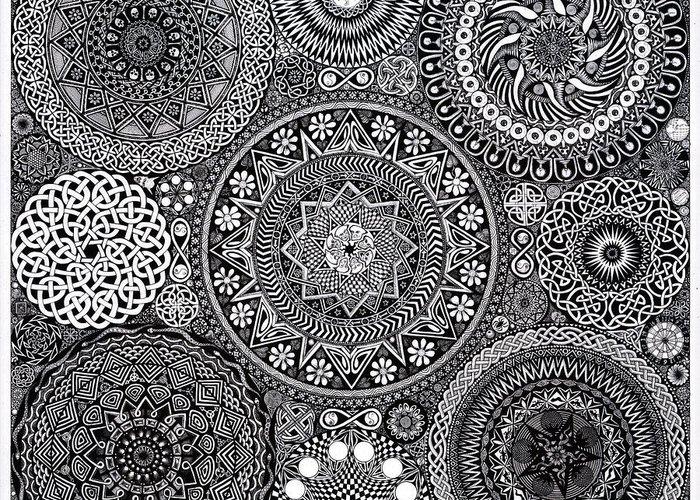 Mandala Greeting Card featuring the drawing Mandala Bouquet by Matthew Ridgway