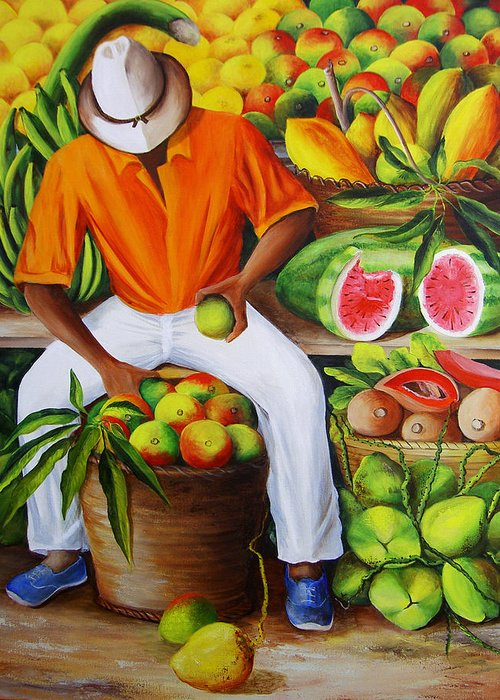 Caribbean Greeting Card featuring the painting Manuel The Caribbean Fruit Vendor by Dominica Alcantara