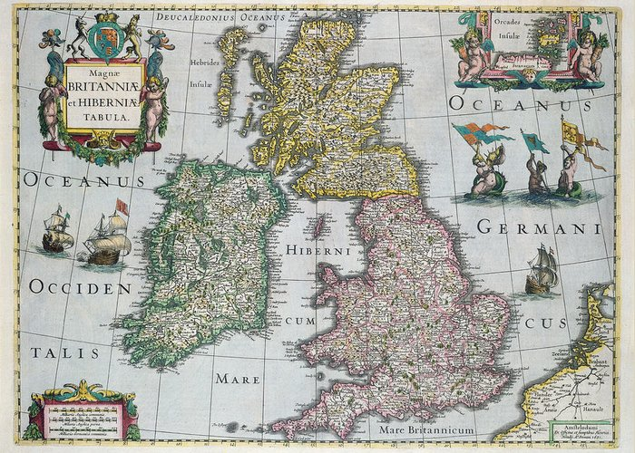 Map Greeting Card featuring the drawing Map Of Britain by English school