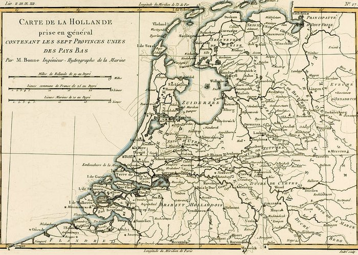 Engraving Greeting Card featuring the drawing Map Of Holland Including The Seven United Provinces Of The Low Countries by Guillaume Raynal