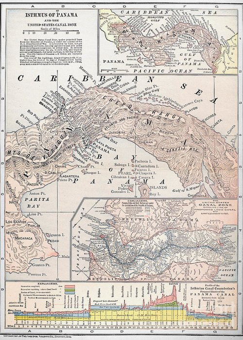 1907 Greeting Card featuring the photograph Map: Panama, 1907 by Granger