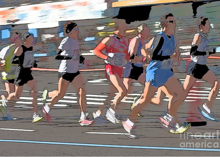 Clarence Holmes Greeting Card featuring the photograph Marathon Runners II by Clarence Holmes