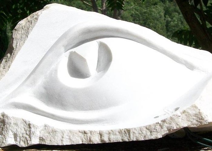 Marble Eye Greeting Card featuring the sculpture Marble Eye by Marino Ceccarelli Sculptor